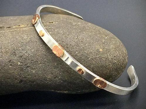 Silver & Copper Thin Cuff