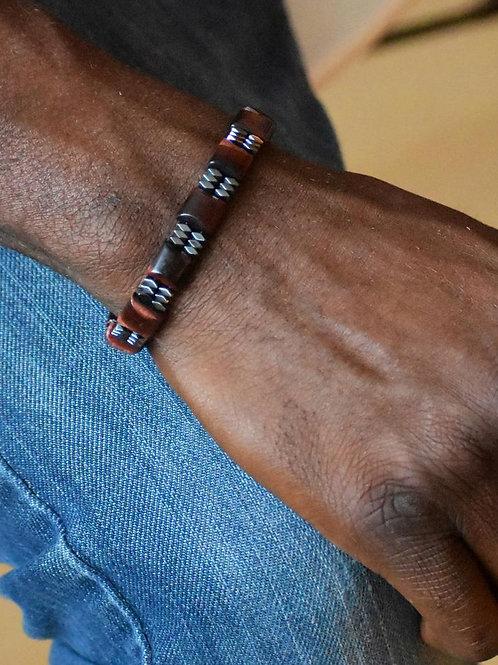 Hematite & Red Tiger Eye Bracelet