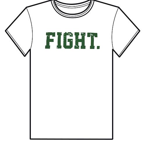 """FIGHT."" Short Sleeve Shirt  White & Green"