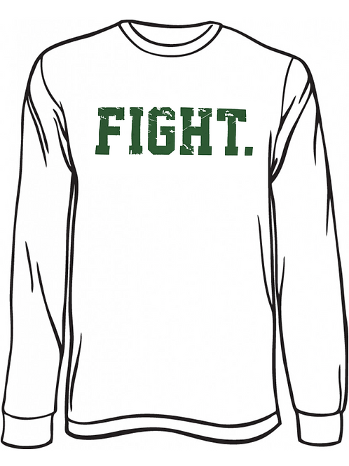 """Fight."" Long Sleeve Shirt  White & Green"