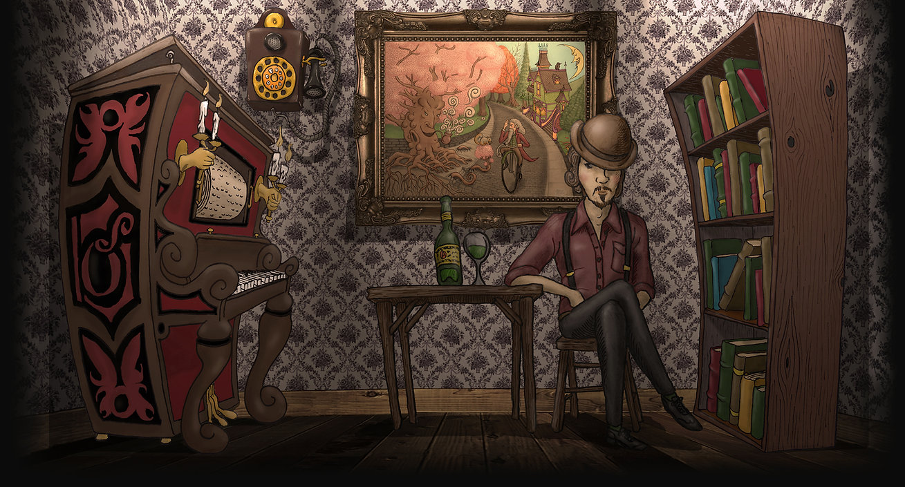 Ordovich's Room, Art, Illustration, Painting, Animation, GIF, Music, Literature, Bookshelf, Piano, Absinthe, Portrate, Antique, Victorian