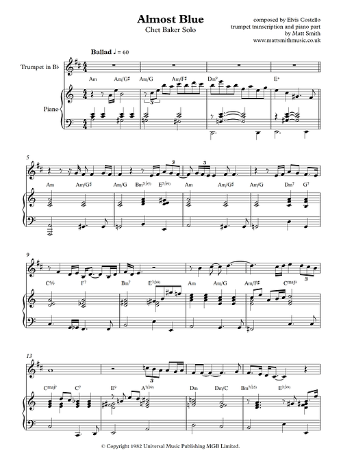 Almost Blue by Chet Baker - Trumpet Transcription and Piano Accompaniment