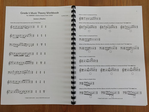 Grade 5 Music Theory Workbook by Matt Smith - PRINTED VERSION