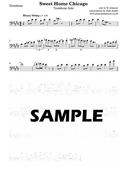 Sweet Home Chicago - Trombone Solo Transcription