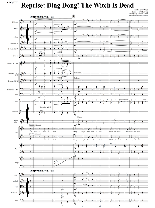 Ding Dong! The Witch Is Dead (Reprise) from The Wizard of Oz - Orchestra & Voice
