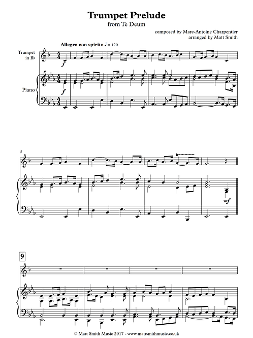 Trumpet Prelude from Te Deum (low) - Trumpet with Piano Accompaniment