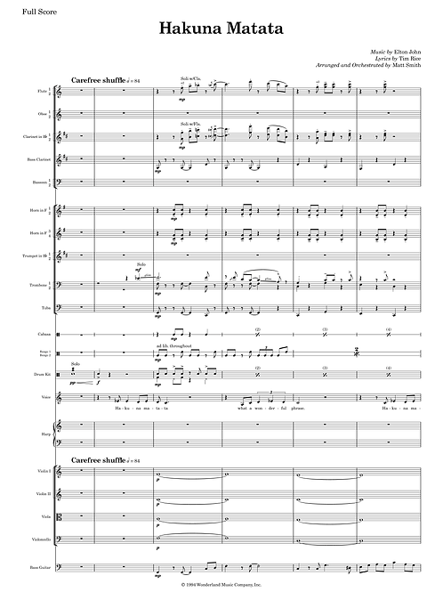 Hakuna Matata from Jungle Book - Orchestra with Voice