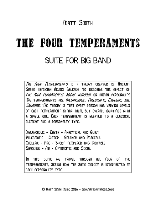 The Four Temperaments Suite by Matt Smith - Big Band