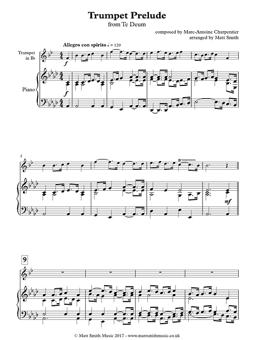 Trumpet Prelude from Te Deum (high) - Trumpet with Piano Accompaniment