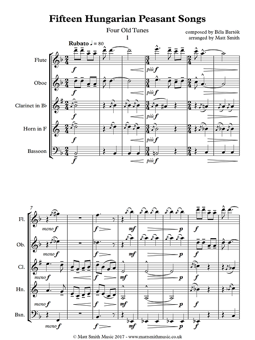 Fifteen Hungarian Peasant Songs (Nos 1-7) by Bela Bartok - Wind Quintet