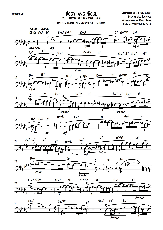 body and soul - bill watrous solo transcription  matt smith music