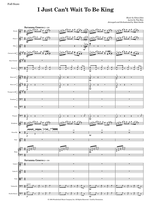 I Just Can't Wait To Be King from Jungle Book - Orchestra with Voice