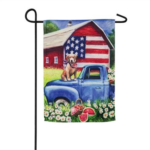 Patriotic Dog & Truck-Garden Flag