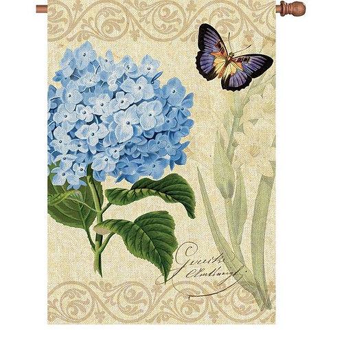 Botanical Fresh Blue House Flag
