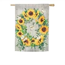 Sunflower Wreath House Flag
