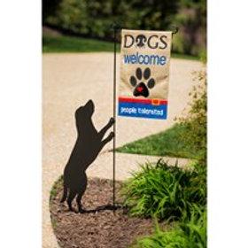 Garden Flag Holder-Dog Silhouette