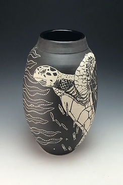 Sea Turtle Sgraffito Vase by Anne Webb
