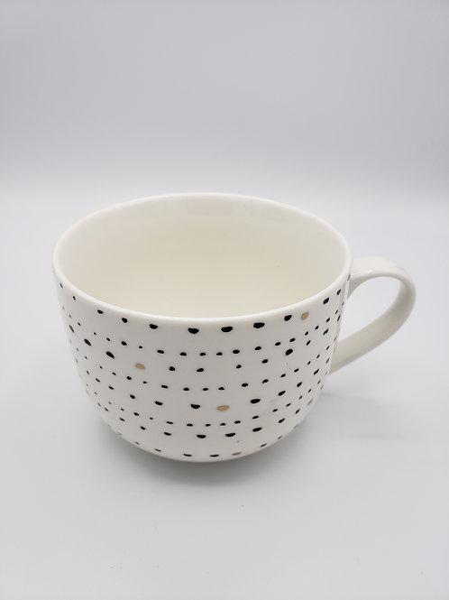 Modern White, Black, Gold Mugs