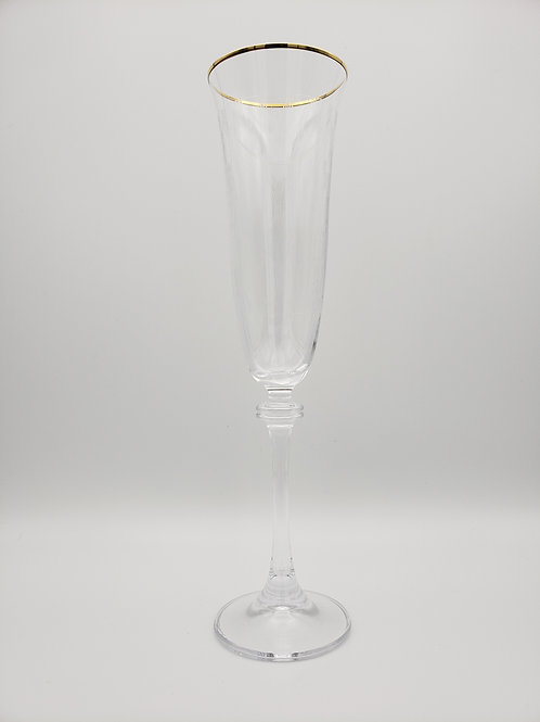 Gold Rimmed Etched Champagne Glasses