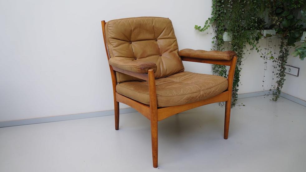 Zweedse leren fauteuil