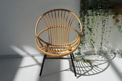 Vintage rotan stoel fauteuil