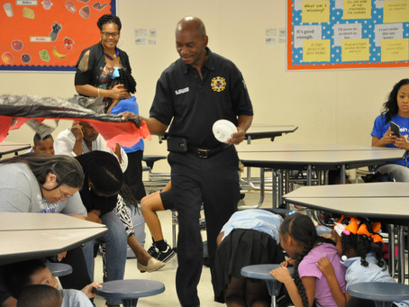 Firefighters visit Ms. Applebaum's class
