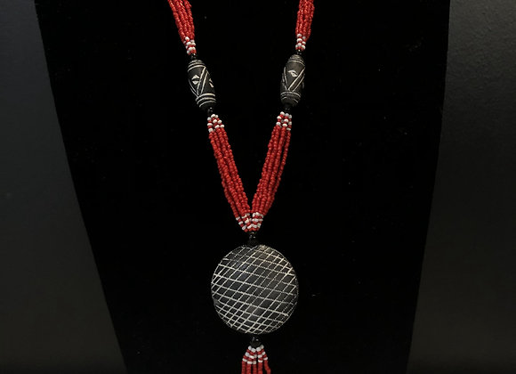 Red Dangle Beaded Necklace