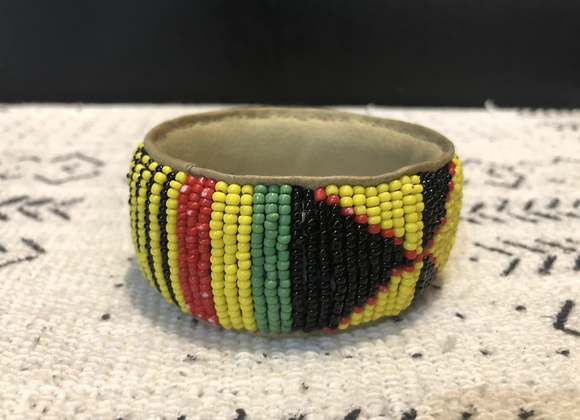 Thick Beaded Bracelet on Leather