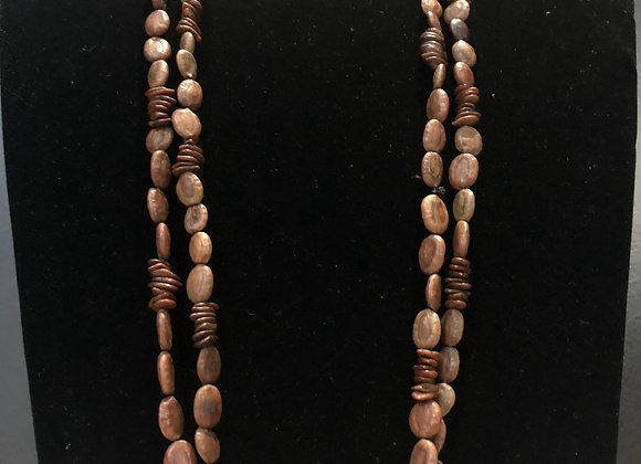 Long Brown Seeds Necklace