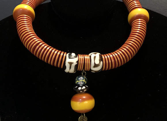 Amber W Hanging Spiral Necklace