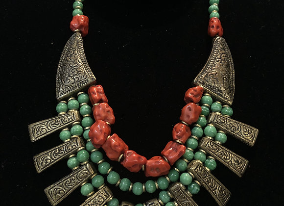 Old Brass Panther Coral Beaded
