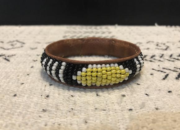 Thin Beaded Bracelet on Leather