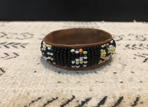 Medium Beaded Bracelet on Leather
