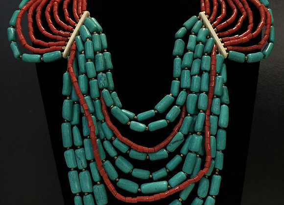 Old Brass W/ Coral & Turquoise