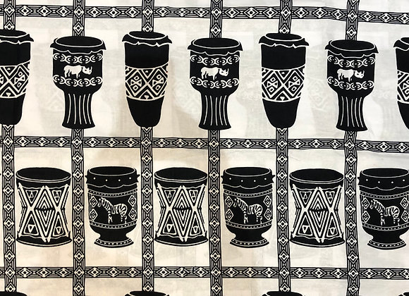 Black & White Drums Fabric