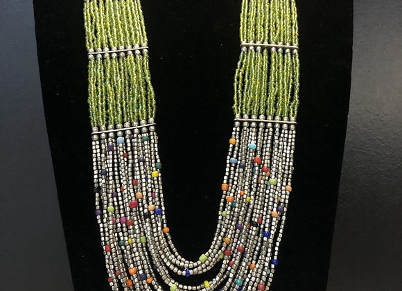 Long Silver Beaded Necklace
