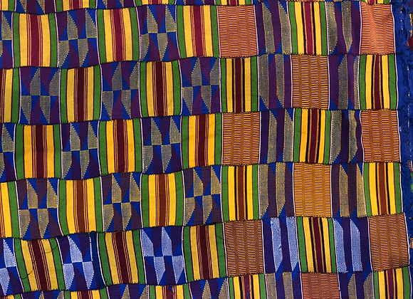 Blue and Gold Kente Cloth