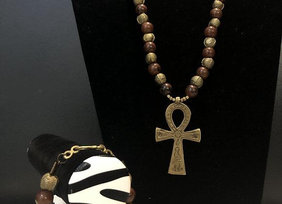 Mahogany Obsidian with Ankh and Bracelet