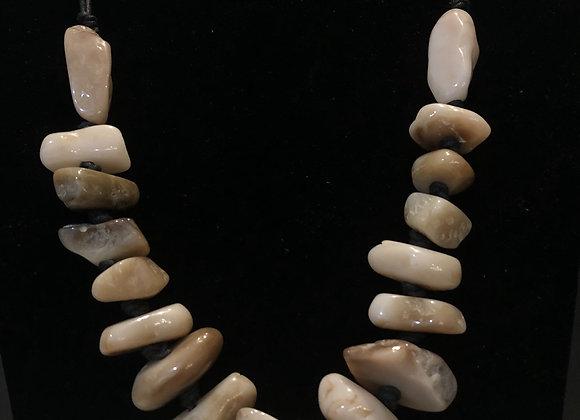 Flintstone Rock Necklace - Tan