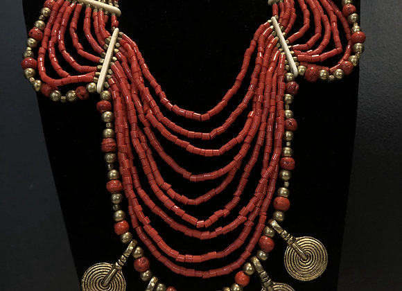 Coral Brass Old Necklace
