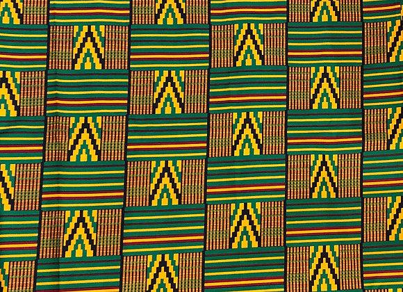 Green Kente Print Fabric