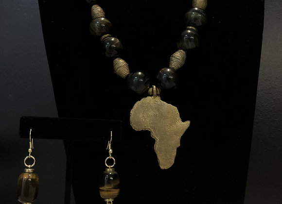 Tiger's Eye Africa Pendant W Earrings