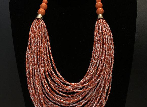 Layered Beaded Necklace - Orange