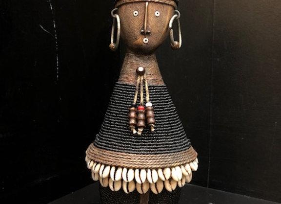 Black Short Namji Doll w/ Cowrie Shells