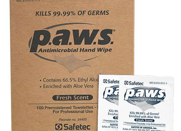 P.A.W.S Antimicrobial Hand Sanitizer Wipes - 100 (1 per customer)