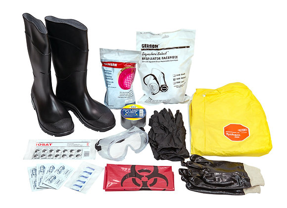 Personal Protective Hazmat Kit with Boots, Suit & More