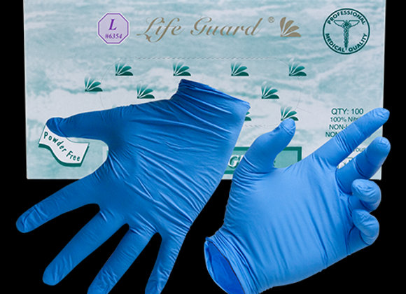 Life Guard Nitrile Powder-Free Gloves 100/box, 5-mil