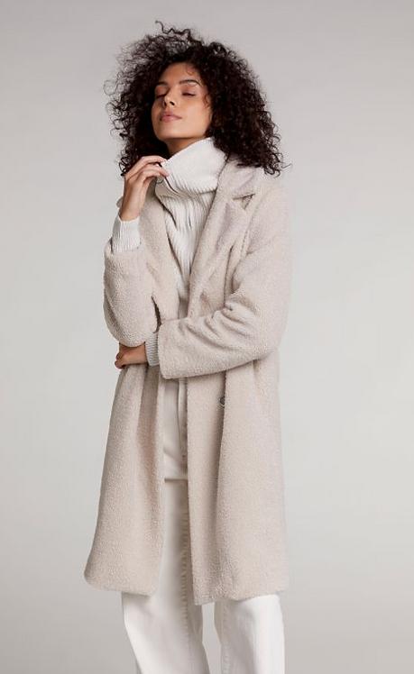 Oui - Stone Teddy Bear Coat