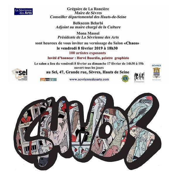 La Sévrienne des Arts February 2019 Chaos show Collective exhibition 100 exhibiting artists; guest of honor Hervé Bourdin, Town Hall of Sèvres, Department of Hauts-de-Seine