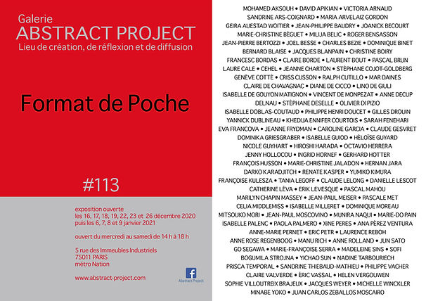 Exposition Collective Galerie Abstract Project 2020 2021 Format de Poche
